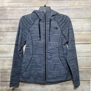 North Face Heather Black Grey Zip Hood Jacket S